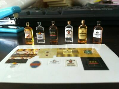 6PCS Miniature 1:12 Wine Whiskey Bottles Set Shop Pub Bar Drink Accessory