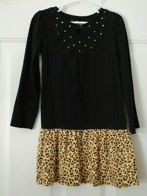 Girls Jumping Beans Black Cheetah Print Long Sleeve Dress Size 5 EUC