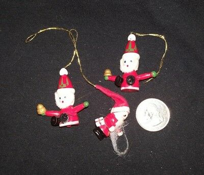 Vintage  Handcrafted  Miniature Wooden Santa Clause  Ornaments  Lot of 3