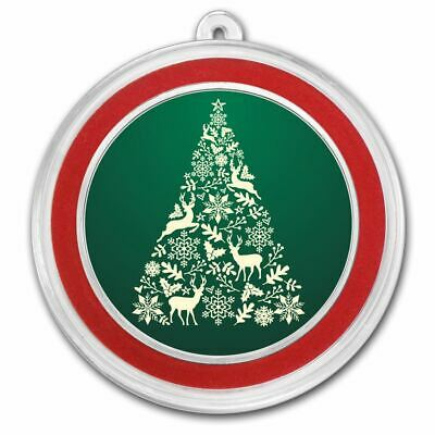 Silver Holiday 1 oz Round | Christmas Tree (Colorized)