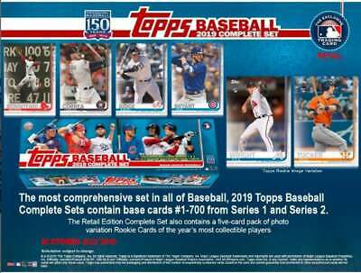 2019 Topps Baseball Cards Retail Factory Set (700 Cards + 5 Rookie Variations)