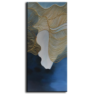 Baccow No 3 Of The 3 Panel Abstract Art Blue Gold 2448