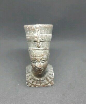 Vintage Egypt Metal Pharaoh Figure Head Statue Egyptian Art Carved  Weight 158 g