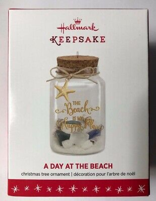 Hallmark Ornament 2016-A DAY AT THE BEACH-MY HAPPY PLACE-GLASS BOTTLE-SHELLS-NEW