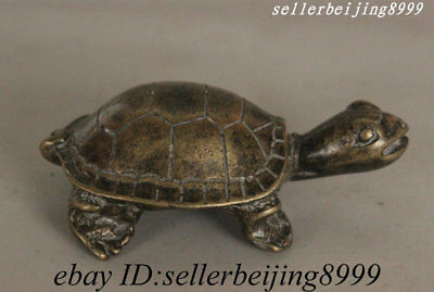 Antique China Old Copper Bronze longevity Tortoise Fengshui Animal Turtle Statue