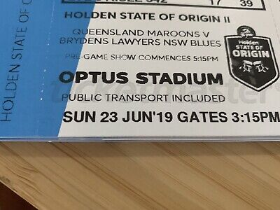 State of Origin Game 2. 7x Tickets. Perth 23rd June. NRL. Optus