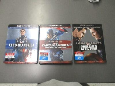 Captain America Trilogy 4K Ultra HD Discs & Cases Never Used Civil War, Avenger