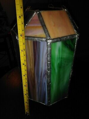 Leaded Stained Glass Lantern Lamp Shade Ceiling Light Vintage