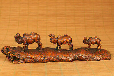 Antique collection old boxwood three camel statue figue netsuke decoration