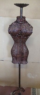 Vintage Bamboo & Metal Female Mannequin Form & Body Torso Display