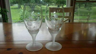 Avon Hummingbird Ice Tea Glasses Etched Retired Frosted Stem Elegant Glasses NWO