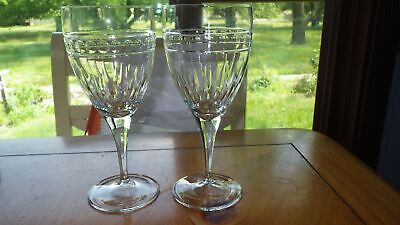 Crystal Water Goblets Glasses lines and dots bright cut elegant ring 4 14oz stem