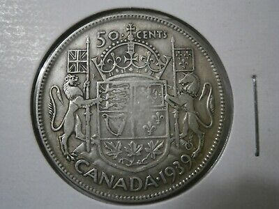 1939  50 cent Silver Coin Canada Low Mintage (287,976)