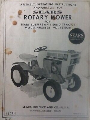 """Sears SS Lawn Garden Tractor Suburban 42"""" Mower Owner & Parts Manual 917.251020"""