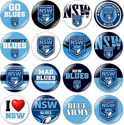 1 x NSW Blues New South Wales State of Origin 32mm BUTTON PIN BADGE NRL 2019