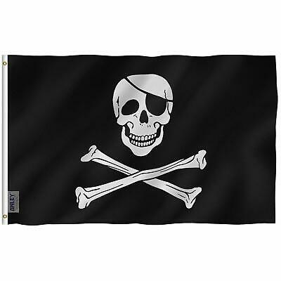 Anley Fly Breeze 3X5 Foot Jolly Roger Flag With Patch - Vivid Color And Uv Fade