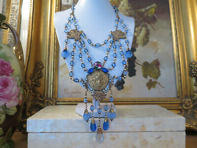 Gorgeous VINTAGE 1940's CZECH Art Nouveau Lady NECKLACE, corn flower blue