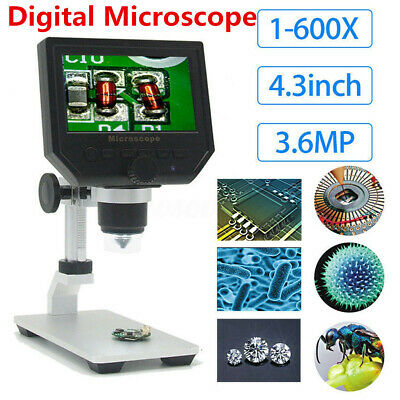Digital Microscope 1080P 4.3'' HD OLED 3.6MP 1-600X Magnifier G600 Portable