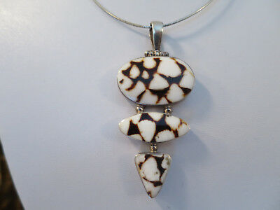 Fantastic Vintage 925 Sterling Silver & shell Necklace & 925 cable necklace