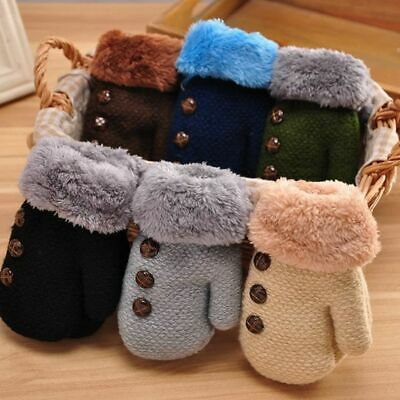Knitted Baby Boys Girl Gloves Cotton Full Finger Kids Mittens Leaf Warm Gloves