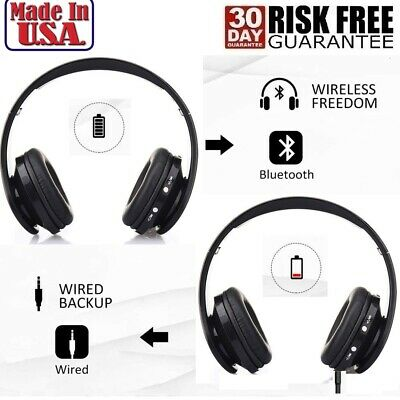 Wireless Foldable Bluetooth Stereo Headphone Built-in Microphone with 3.5mm Jack