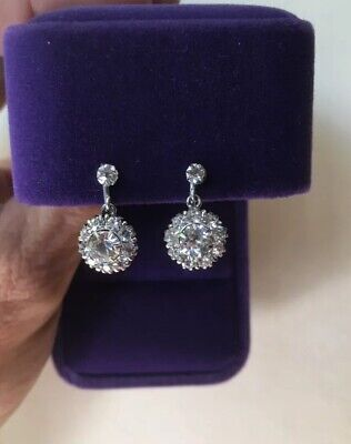 Antique Victorian Sparkly Paste Crystal Sterling Silver Screw Back Earrings