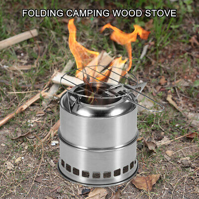 Portable Folding Camping Stove Outdoor Cooking Wood Burning Backpacking BBQ A5V2