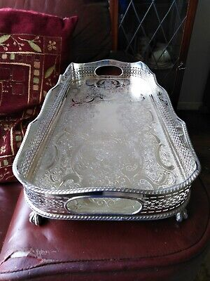 Sheffield Reproduction Silver Plated On Copper Gallery Tray Claw Ball Feet