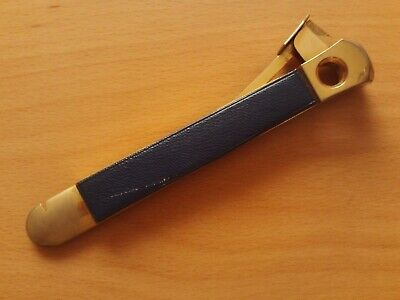 Vintage Donatus Solingen Cigar Cutter Gold Plated With Blue Leather On Handle.