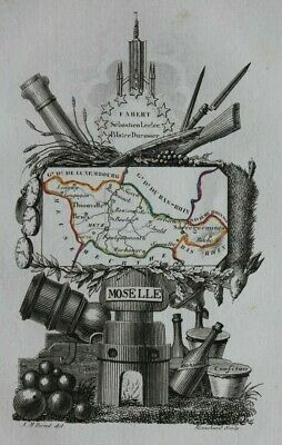 Miniature antique map, MOSELLE, METZ, FRANCE, A.M. Perrot, 1824