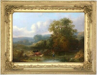 A Drover Fording the River Antique Oil Painting 19th Century English School