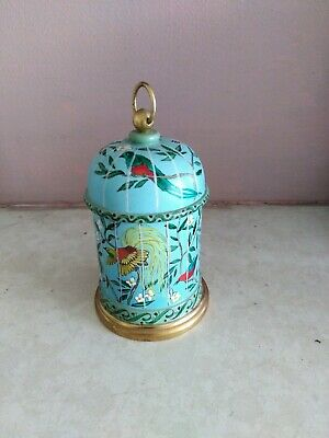 Reuge Switzerland Treen And Brass Hand Painted Musical Box