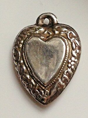 Antique Victorian silver plated repousse puff puffy heart pendant chearm LOVE x