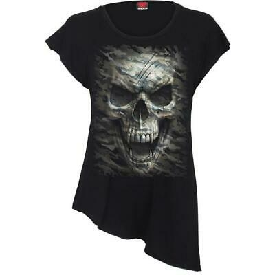 Spiral Direct CAMO-SKULL T-Shirt Army//Rock//Biker//military//Camouflage//Goth//Top