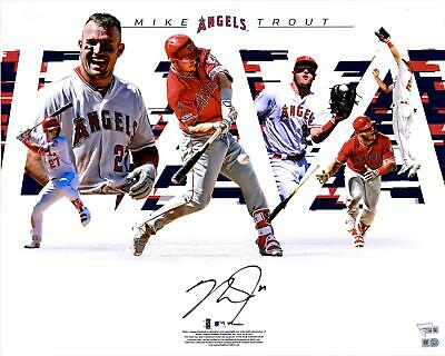 """Mike Trout Los Angeles Angels Autographed 16"""" x 20"""" Photograph Collage"""