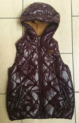 Girls Esprit Purple Padded Gilet Sleeveless Coat Hooded Quilted age 10-11 years