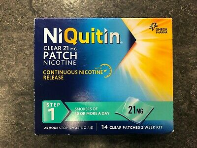 NIQUITIN CLEAR 21mg PATCH NICOTINE STEP 1 14 clear patches 2 weeks kit