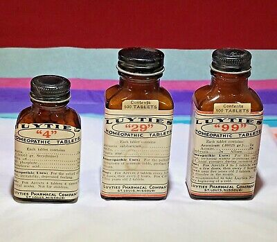 3 - Vintage - Amber Glass Bottles - Luyties Homeopathic Tablets - St. Louis