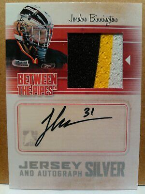2010-11 Jordan BINNINGTON AUTO #'/3 BETWEEN THE PIPES JERSEY 3 clrs RC Autograph