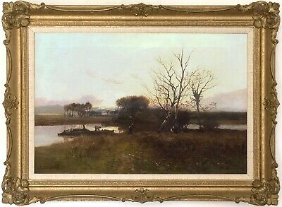 A River Landscape Antique Oil Painting by William Manners R.B.A. (1860–1930)
