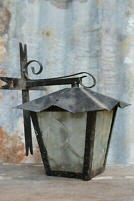 Reclaimed Vintage Wrought Iron Porch Lamp light old lighting lantern garden lamp