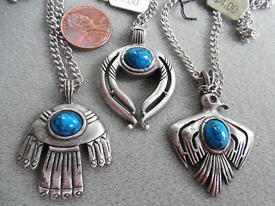 Vintage NOS lot 3 tribal native 70s faux turquoise  pewter tone necklaces DB #2
