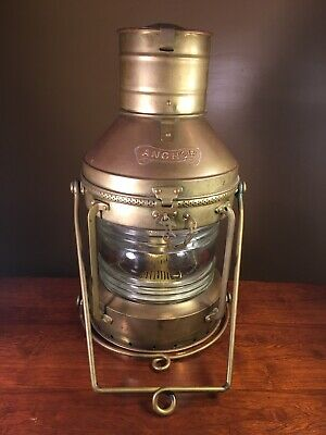 Large Vintage Brass ANCHOR Kerosene Ship Lantern, Deck Light, WORKS GREAT!