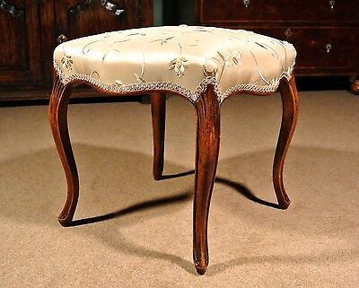 19th Century Walnut Serpentine Stool in the French Manner c. 1840