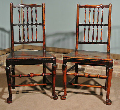 Pair of 18th Century Elm Spindle Back Chairs with Exemplary Patina c. 1750