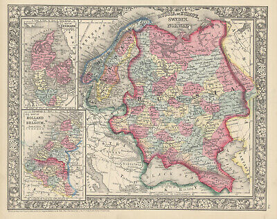 1864 Mitchell Russia in Europe, Sweden and Norway(Original Colored Antique Map)