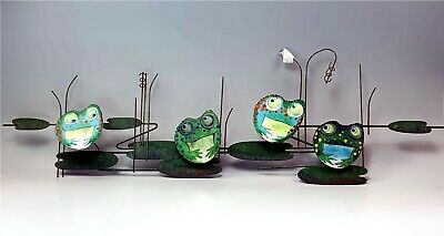 Scarce Signed Curtis Jere Metal FROGS Mid-Century Wall Art Enamel Sculpture