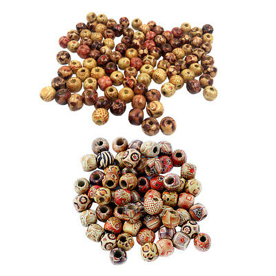 200pcs 10mm 12mm Mixed Loose Spacer Wooden Beads for Jewelry Making Charms
