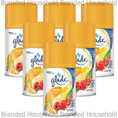 6 X Glade Automatic Spray Refills Air Freshener Hawaiian Breeze 269Ml