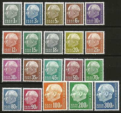 "Germany Saar 1957 MNH Pres. Heuss 2nd issue ""F"" set of 20 Mi 409/428 SG 406/425"